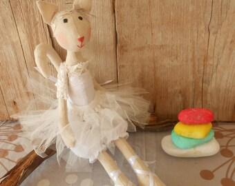 Cat Toy - Cat Stuffed Animal - Cat Plushie - Cat ballerina Toy - Ballerina Stuffed Animals - Handmade Stuffed Animal - Ballerina doll