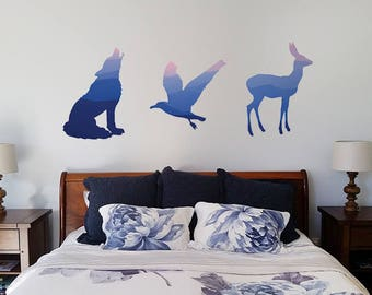 Mountain Sunset Animal Wall Decals (3 Pack)