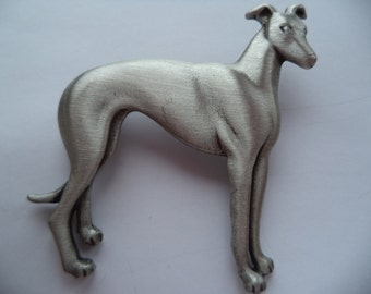 Vintage Signed JJ Silver pewter Standing Greyhound Brooch/Pin