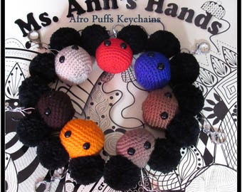 Crocheted Mini Afro Puff Key Chains