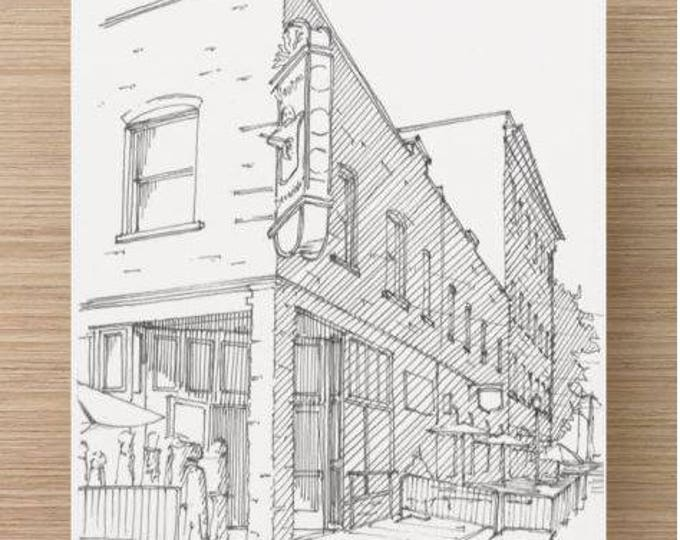 Ink Sketch of Voodoo Doughnut in Portland, Oregon - Drawing, Art, Food, Donuts, Architecture, Pen and Ink, 5x7, 8x10, Print