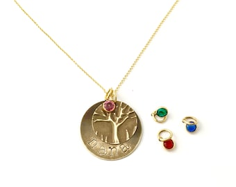 Nana Necklace Birthstone, gift from grandkids, nana necklace gold, Personalized pressed and stamped necklace Gift
