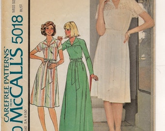 """A Floor or Below-Knee Length, Long or Short Sleeve, Yoked Flared A-Line Dress Sewing Pattern for Women: Size 12, Bust 34"""" • McCall's 5018"""