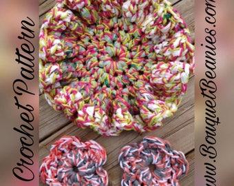 PDF Crochet Pattern - Ruffled Flower Scrubbie-Cloth and Face Scrubbie - Eco-Friendly, Cotton/Plarn