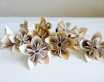 Paper flowers, kusudama flowers, origami flowers for crafts, dictionary pages, flowers for decoration, handmade, paper flowers