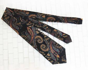 Black Gold Teal Silk Tie Countess Mara USA - Paisley Swirl