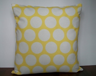Yellow and white 18 x 18 inch pillow cover