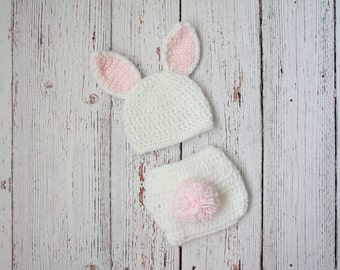 Newborn bunny outfit, newborn crochet bunny, newborn bunny hat, newborn easter prop, newborn easter outfit, crochet diaper cover