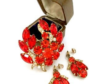 Eisenberg Orange Rhinestone Demi, Brooch & Earring Set, Orange Chatons and Marquis Stones, Pave Ice Accents, Special Occasion, Gift for Her