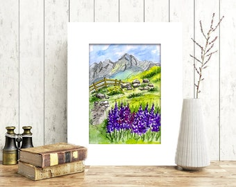 Watercolor Landscape Painting/Mountain painting/Travel sketch/Meadow painting/Home wall art/5x7 Original painting/Small painting/Wall art