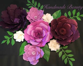 Plum and Purple Paper Flower Arrangement