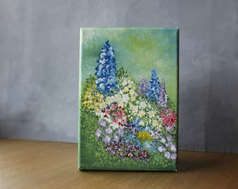 Flower Painting, Mini Canvas Painting, Garden Art, Floral Art, Impressionist Painting, Spring Home Decor, Flower Art, Summer Home Decor