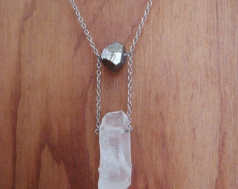 Raw Crystal Pyrite Step Necklace