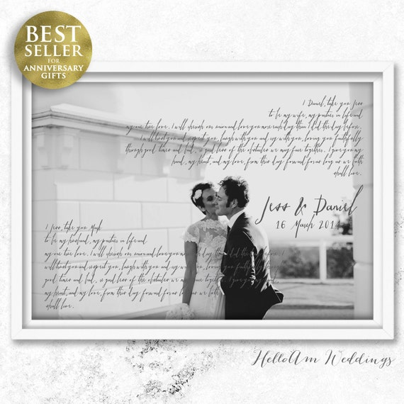 Wedding Vow Gifts: Wedding Vows Framed 1st Anniversary Gift Vows Wedding Vows
