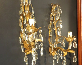Vintage Italy Italian Pair of Hollywood Regency Glam Shabby Gold Tole Crystal Wall Sconce Light Lamp