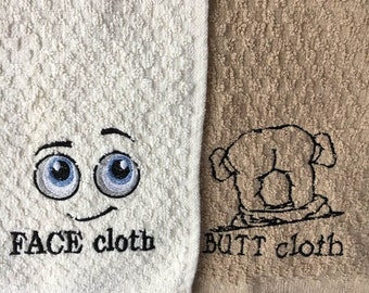 embroidered face and butt wash cloths