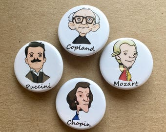 Composer Button Pins - Set of 18