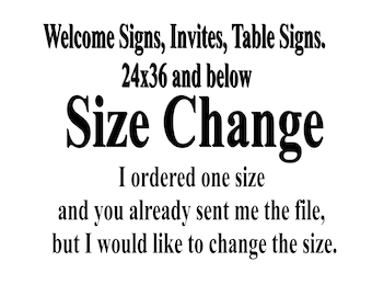 Add On - Size Change Sizes 24x36 and below