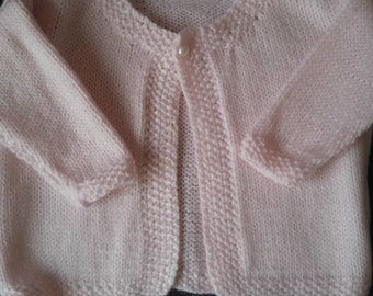 Hand Knitted Moss Stitch Edged Baby Cardigan