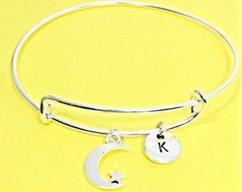 Silver moon and star, moon charm bracelet, star bangle, moon jewelry, personalized, customized, initial, initial charm, moon jewelry gift