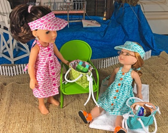 14 Inch doll Halter Dress or Sundress, Visor, and Beach Bag  for 14 inch dolls  including Wellie Wishers and H4H