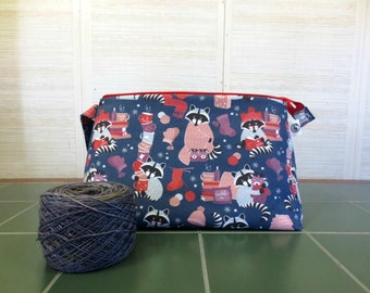 Racoons, Large Project Bag, Knitting Project Bag, Zippered Knitting Bag, Crochet Project Bag, Yarn Tote