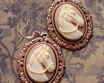 Horse Earrings, Cameo Earrings, Cowgirl Earrings, Rose Gold Copper, Horse Jewelry, Horse lover, Western Earrings,Rodeo Jewelry,Cameo Jewelry