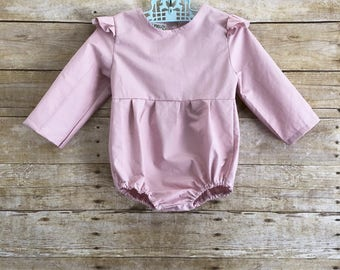 Baby clothes girl romper long sleeve flutter romper one year old girl birthday outfit ruffle kids sunsuit boho pink pastel jumper jumpsuit