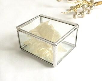 Wedding Ring Box Silver Tone Finish Glass Display Box Small Jewelry Box Ring Bearer Wedding Gift Box