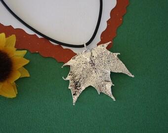 SALE Leaf Necklace, Silver Maple Leaf, Real Leaf Necklace,Silver Sugar Maple Leaf Pendant, SALE194