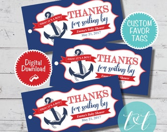 Nautical Baby Shower Ahoy It's a Boy Baby Shower Favor Tag