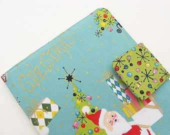 Christmas Nook Cover, Original Glowlight Cover, Nook Simple Touch Cover, Nook Glowlight Case, Simple Touch Case, Nook Case, Modern Santa