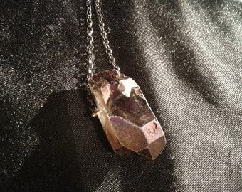 Healing Smoky Quartz Necklace, iridescent painted, unicorn crystal necklace