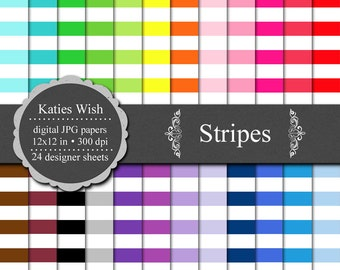 Stripes Digital Commercial Use Kit 12x12 inch jpg files for Instant Download