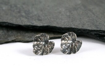 Sterling Silver Ivy Leaf Post Earrings Oxidized or Polished Silver