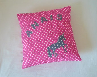 Unicorn pillow, personalized with name