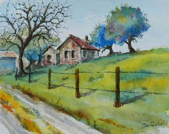The Old Bunk House - original plein air watercolor painting