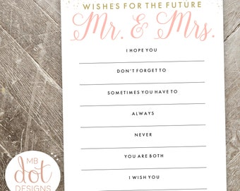 Wishes for the future Mr. and Mrs. - Well Wishes for the Bride and Groom - Pink, Gold - Bridal Shower Advice - Instant Digital Print