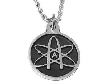 Black Pewter Atheist Atom Science Symbol Pendant Necklace