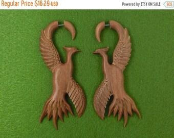 ON SALE Beautiful Birds Exotic Wood Fake Gauges Earrings - Free Shipping