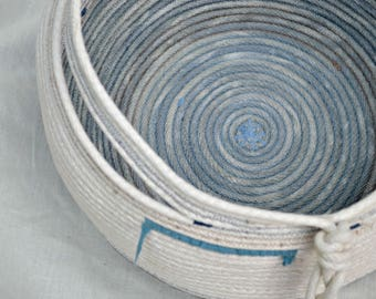 Market Basket * handmade cotton rope basket dyed with hibiscus flowers* white and blue* Large basket*