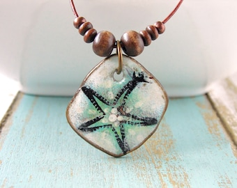 Polymer Clay Jewelry featuring a Dancing Starfish Grunge Beach Boho Design in Teal, Black and White