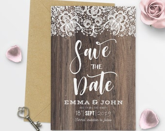 Rustic Save The Date Rustic Wood Save The Date Postcard Elegant Save The Date Cards Printable Save the Date Wooden - #6-11