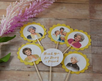 The Golden Girls cupcake toppers, Golden girls party cupcake picks,Blanche,Sophia ,Dorothy ,Rose