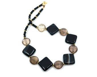 Boho necklace for wife, black necklace, gift for wife, Mothers day gift