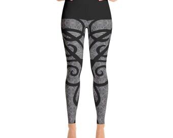 Charcoal and Black Scroll Yoga Leggings