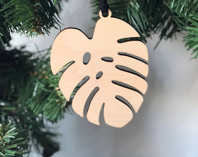 Monstera Leaf Ornament & Tag - Acrylic or Wood