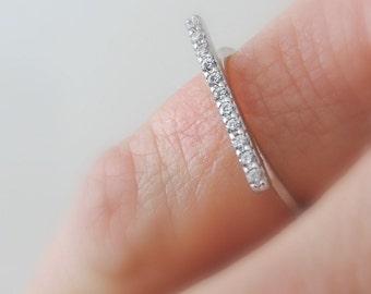 Bar Ring - Rose Gold Ring - Pink Gold Jewelry - Pave Ring - Zircon Ring - Stacking Ring