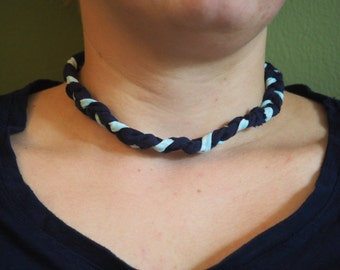 Braided Navy Blue and Turquoise Fabric Necklace with Chain