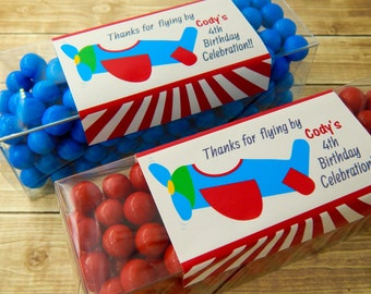 Airplane Birthday Party Favors, Party Favor Tubes, Boy Birthday Favors, Toddler Birthday Party Favors, Set of 12